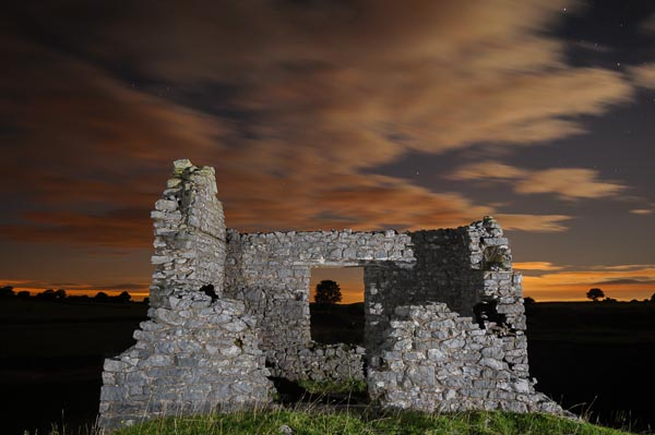 Ruined building at the Peak District location used by Peak Digital Training for a night photography course