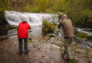 Students photographing a weir on one of Peak Digital Training's beginners' photography courses in the Peak District. Photo © Chris James