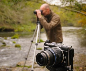 An Olympus mirrorless camera on a landscape photography course in Derbyshire. Photo © Chris James