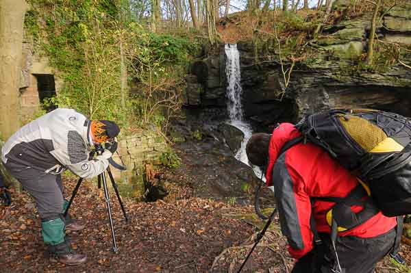 Photographing a waterfall in Derbyshire on a landscape photography course run by Peak Digital Training
