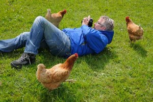 Photographing hens on a photography course in the Peak District. Photo © Chris James