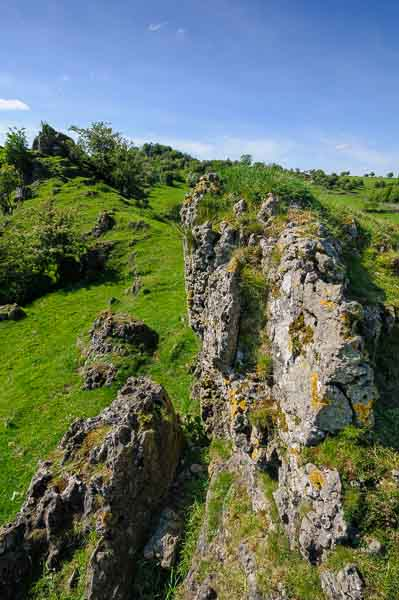 Dolomitic limestone outcrops at a location for a Peak District landscape photography course