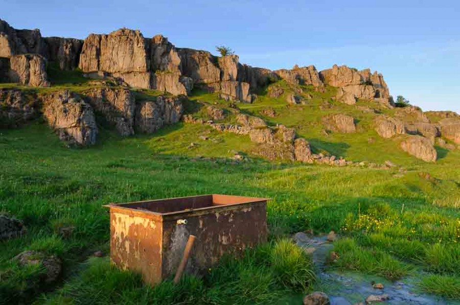 Limestone outcrops at sunset in Derbyshire. One of the locations for a landscape photography course run by Peak Digital Training. Photo © Chris James