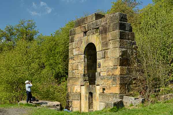 Photographing a ruined mine building on a Peak District landscape photography course. Photo © Chris James