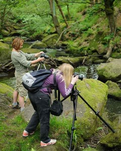 Photographing a stream on a photography course for beginners in Derbyshire. Photo © Chris James
