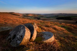 Millstones on moorland near Sheffield in the Peak District. One of the subjects on a landscape photography workshop by Peak Digital Training. Photo © Chris James