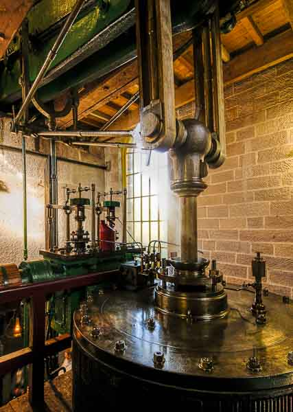 A steam powered beam engine at work