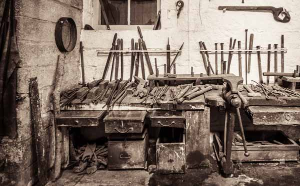 Tools inside the old railway workshops