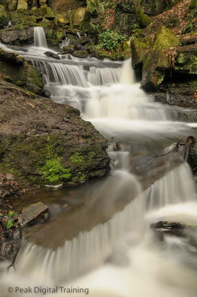 Waterfalls in Derbyshire on a landscape photography course run by Peak Digital Training. Photo © Chris James
