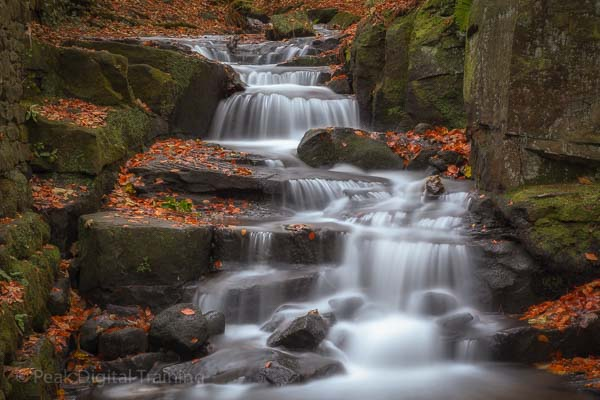 Waterfalls on a landscape photography course in Derbyshire. Photo © Chris James