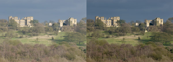 A photograph of Hardwick Hall, Derbyshire, edited using Adobe Photoshop Lightroom software