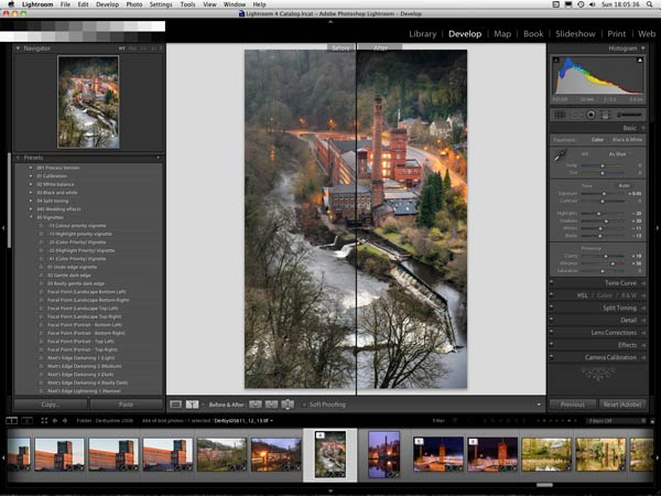 The develop module interface of Adobe Lightroom. Lightroom training courses in Derbyshire and Sheffield by Peak Digital Training.