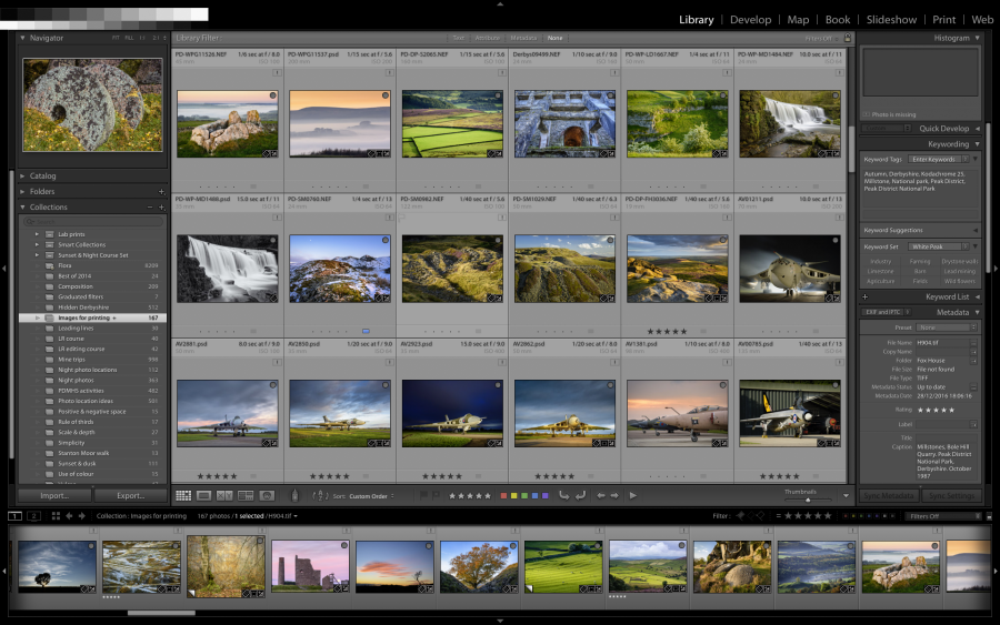 Adobe Lightroom's library module interface