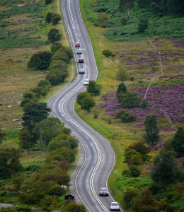 A picture of a road winding across moorland, taken on one of Peak Digital Training's photography workshops