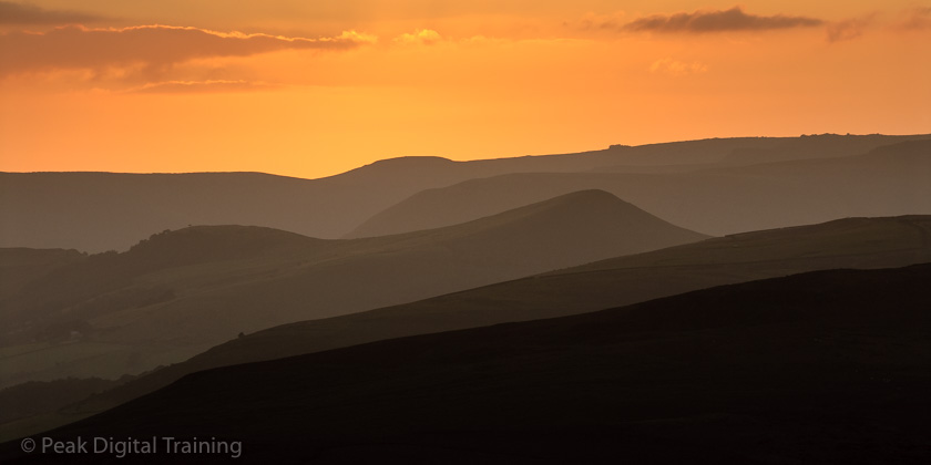 Sunset over the Peak District from tmoorland near Sheffield © Chris James. Photography courses for beginners and landscape photography courses in the Peak District, Derbyshire and Sheffield by Peak Digital Training